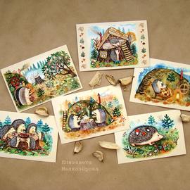 Елизавета Мелкозёрова, Мелкозерова Лиза, мелкозерова, Melkozerova, Elizaveta Melkozerova, melkozerovaliza, открытки, авторские открытки, открытки Мелкозеровой, почтовые открытки, посткроссинг, postkrossing, ёжики, ежики, еж, ёж, открытка с ежами, открытка с ёжиками, открытки Елизаветы Мелкозёровой, открытки с животными, открытка, открытки с картинами, комплект открыток