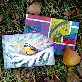 Елизавета Мелкозёрова, Мелкозёрова, Мелкозерова, Мелкозерова Лиза, мелкозерова, Melkozerova, Elizaveta Melkozerova, melkozerovaliza, открытки, авторские открытки, открытки Мелкозеровой, почтовые открытки, открытка, посткроссинг, postcrossing, новогодняя открытка, новый год, новогодний, комплект открыток, новогодний, рождественский, птица, открытка с птицей, синица, снег, еловая ветка, снегирь, свиристель, рябина